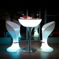 Chargeable Remote Control Illuminated LED Bar Cocktail Table Outdoor Pub Glowing Plastic Tables And Stools