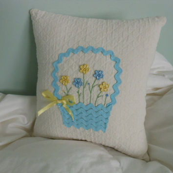 Basket Pillow with Blue and Yellow Flowers by AThymetoSew on Etsy