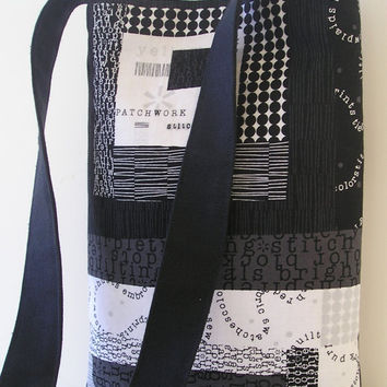 Messenger Bag in Patchwork Black and White by jazzygeminis on Etsy