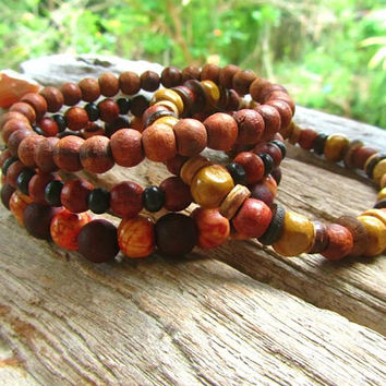 Wooden Beaded Bracelets / Stretchy Bracelet Set / Surfer Bracelet / Stackable Beaded Bracelets / 4 Wooden Beaded Bracelets / Mens Bracelet