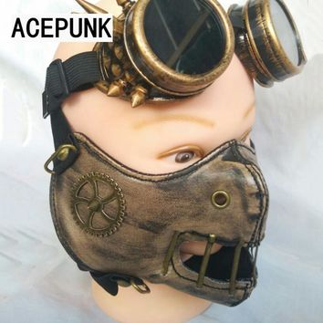 Spike Punk Mask Cool Man Rivet Mask Motorcycle Rock Face Masks Hip-hop Steampunk Cosplay Unisex Mascaras Disfraces 2018 New