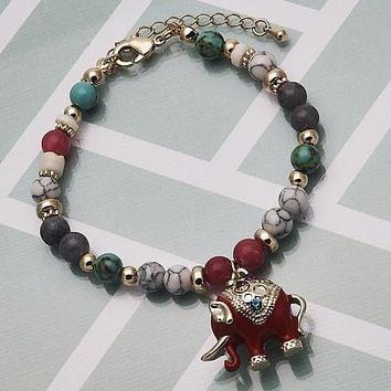 Gold Layered Women Elephant Charm Bracelet, with Multicolor Crystal, by Folks Jewelry