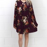 Day at the Vineyard Long Sleeve Floral Dress {Eggplant}