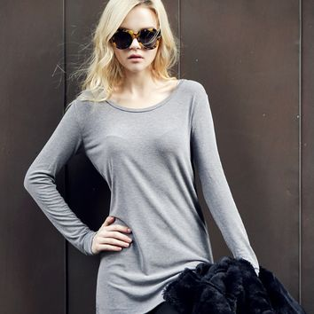 Plain Long Sleeved Slim Shirt