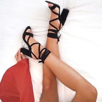 Suede Chunky Heel Open-toe Ankle Straps Wrap High Heel Sandals