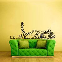 Wall Vinyl Sticker Decals Decor Art Bedroom Tiger Animal Wild Cat Lion Laying Detailed (z2374)