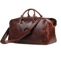 Baigio Men's Leather Overnight Duffle Bag Retro Style Waterproof Designer Business Travel Hand Luggage Suit Bags