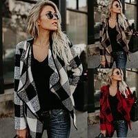 Women Casual Fashion Lapel Multicolor Tartan Long Sleeve Cardigan Coat Tops