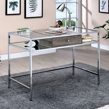Furniture of america CM-DK6052 Jorgen chrome finish metal frame modern style writing desk