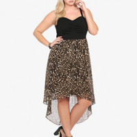 Animal Print Chiffon Hi-Lo Dress