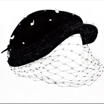 Black Velour Beaded Fancy Hat, Small Church Hat with Veil, Vintage Women's Hats