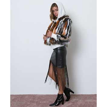 Pretty Good Fringe Skirt - Black Leather