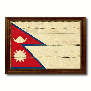Nepal Country Flag Vintage Canvas Print with Brown Picture Frame Home Decor Gifts Wall Art Decoration Artwork