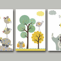 "Art for Children ,Kids Wall Art,Baby Boy Room Decor, Nursery print,set of 3 11"" x 14"" Print,giraffe,elephant,owls,birds,green,blue,yellow"