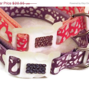 ON SALE Dog Collar - Lots of Love Heart Pet Collar in Pink or Purple
