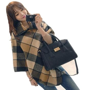Autumn and Winter Women Turtlenck Sweater Plaid Cloak  Oversized Cape Woolen Coat Jacket Pullover Poncho