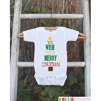 Kids Christmas Outfit - Wish You a Merry Christmas Onepiece - Novelty Christmas Shirt for Baby Boy or Baby Girl - Kids Christmas Outfit