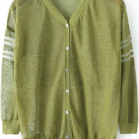 Green V Neck Striped With Buttons Long Sleeve Cardigan
