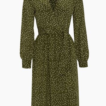 Silk Crepe De Chine Long Cross Front Dress With Shorts - Mille Punti Green Dot Print