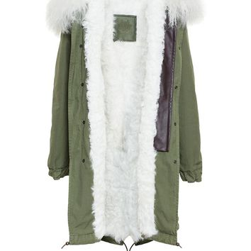 MR & MRS ITALY | Long Mongolian Lamb Lined Cotton Canvas Parka | brownsfashion.com | The Finest Edit of Luxury Fashion | Clothes, Shoes, Bags and Accessories for Men & Women