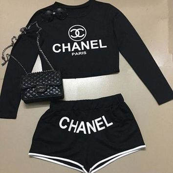 Chanel Fashion New Cami Crop Long Sleeve Shirt Top Tee Pullover Shorts Set Two-Piece Sportswear Black
