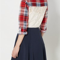 Red Plaid Lace Back Inset Shirt