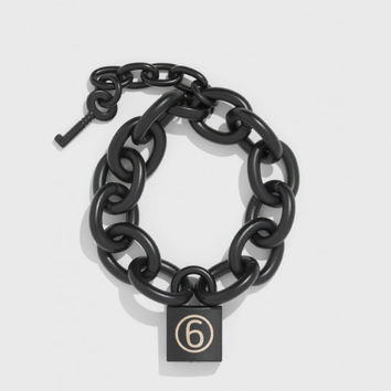 MM6 Chain Padlock Bracelet in Black | The Dreslyn