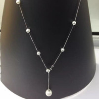 Fashion pearl  925 sterling silver necklace