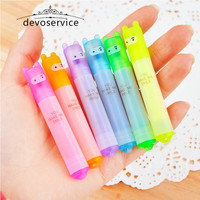 6PCS Set Rabbit Mini Highlighter Pen Marker Pens Kawaii Stationery Material Escolar Papelaria Writing School Supplies