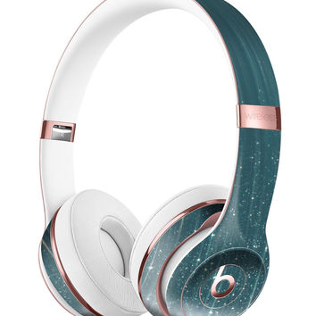 Scratched Teal and White Surface with Silver Sparkle Full-Body Skin Kit for the Beats by Dre Solo 3 Wireless Headphones