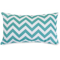 Teal Chevron Small Pillow