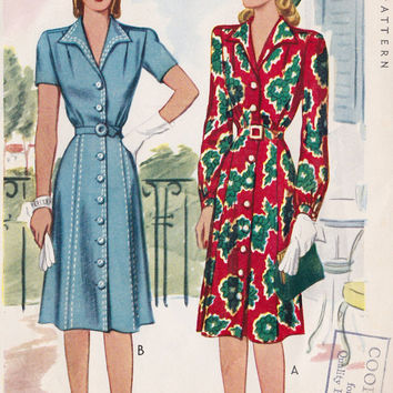1940s Misses Button Down Day Dress Vintage Sewing Pattern, McCall 4690 bust 32""