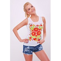 "Women's tank top ""Petrykivka"" white"