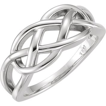 Sterling Silver Freeform Woven Knot Ring