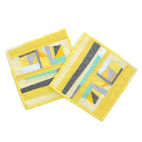 Yellow Pot Holders, Modern Potholders, Quilted Potholders, Yellow and Gray Hot Pads
