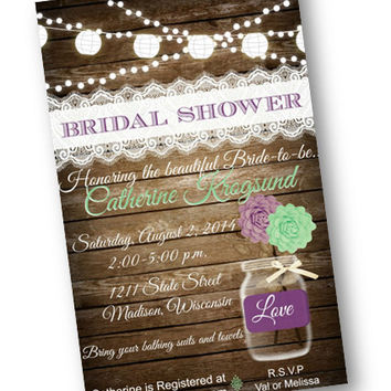 Fall Bridal Shower Invitation or Save the Date puple and mint Wood Rustic mason jarl lights lace vintage shabby chic printable invitation