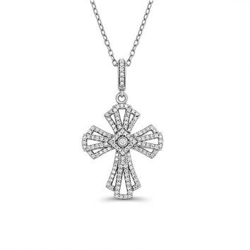 "14k solid white gold .71ctw diamond cross on an 18"" white gold chain."