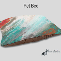 Dog bed, Designer Pet bedding, Teal aqua coral gray, Home decor, Upscale dog beds, Decorative, Pet pillows, Cushion Cat bed Animal