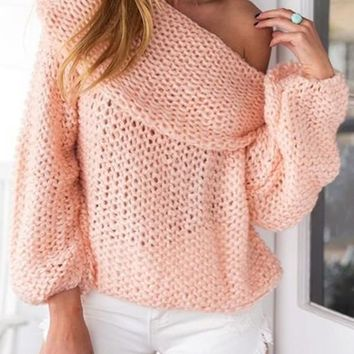 New Pink Off Shoulder Long Sleeve Casual Pullover Sweater
