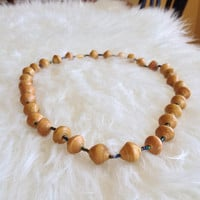 Free US Shipping - Vintage Handmade Paper Bead Necklace - Hand Rolled, Tan, Neutral, 50s, 60s, Retro, Paper Beads, Bohemian, African Type