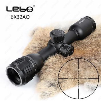 Tactical LEBO 6x32 AO Mil-Dot Glass Etched Reticle Compact Lock Optical Sight Rifle Scope For Hunting Riflescope