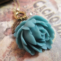 Turquoise Rose Blossom Necklace with crystal by trinketsforkeeps