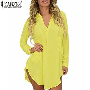 Women Casual Loose Long Chiffon Shirts 2016 Spring Long Sleeve Turn Down Collar Sexy Blouses Tops Plus Size Mini Dress Vestidos