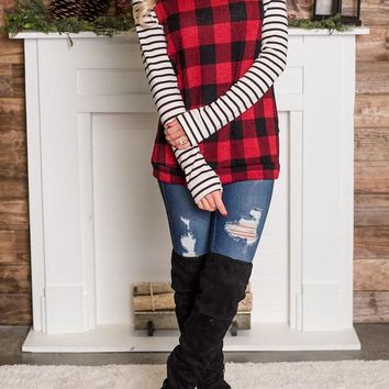 Red Plaid Striped Checkered Long Sleeve Round Neck Casual T-Shirt
