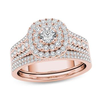 1 CT. T.W. Diamond Double Cushion Frame Multi-Row Bridal Engagement Ring Set in 14K Rose Gold