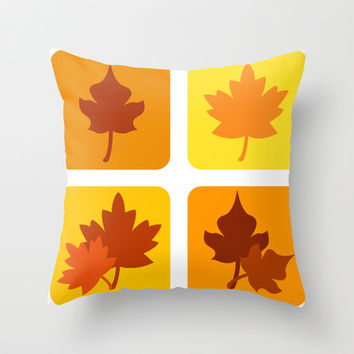 Autumn leaves Throw Pillow by cycreation