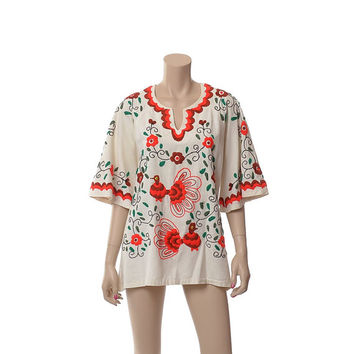 Vintage 60s 70s Mexican Embroidered Birds Caftan Top 1960s 1970s Angel Sleeve Hippie Festival Floral Hand Embroidery Blouse Boho Tunic Shirt