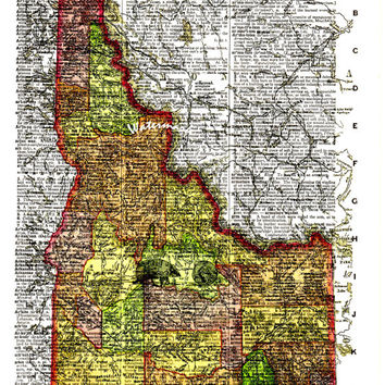 Map of Idaho - 1895 - Vintage Dictionary Art Print - Page Size 8.5x11