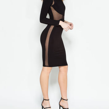 Subtly Sexy Mesh Insert Midi Dress