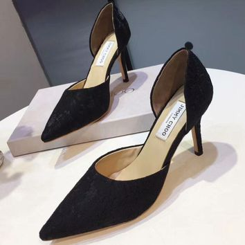 Jimmy Choo 2018 summer new sexy lace shoes wild low-heeled shoes F-OMDP-GD balck